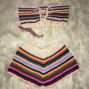 NWOT Rainbow Crochet Tube and Shorts Set - Small